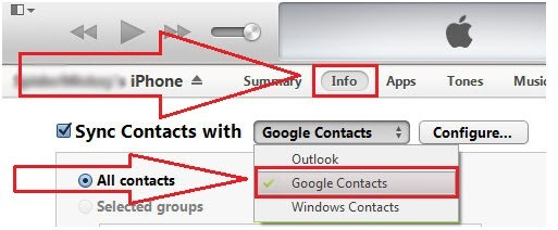 Google contacts option