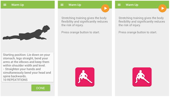 Stretching training app