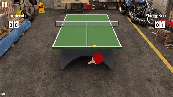 Virtual table tennis game