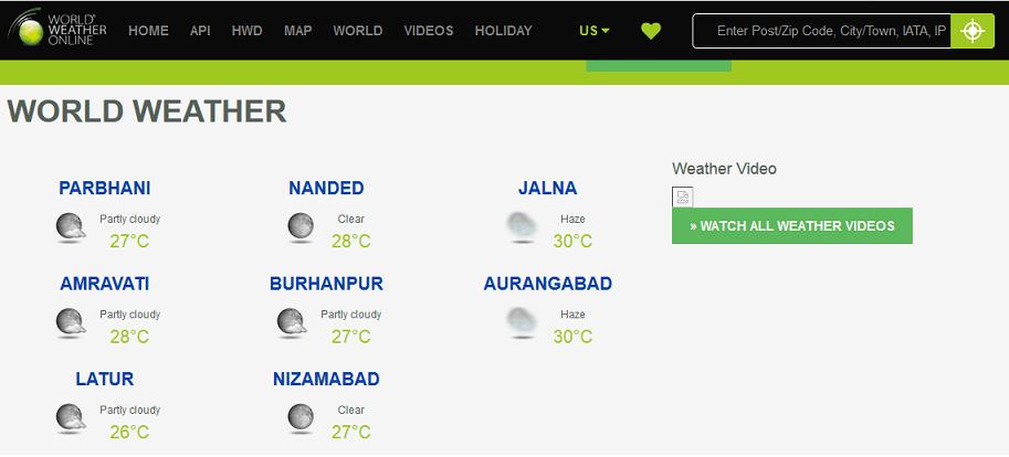 World Weather Online website