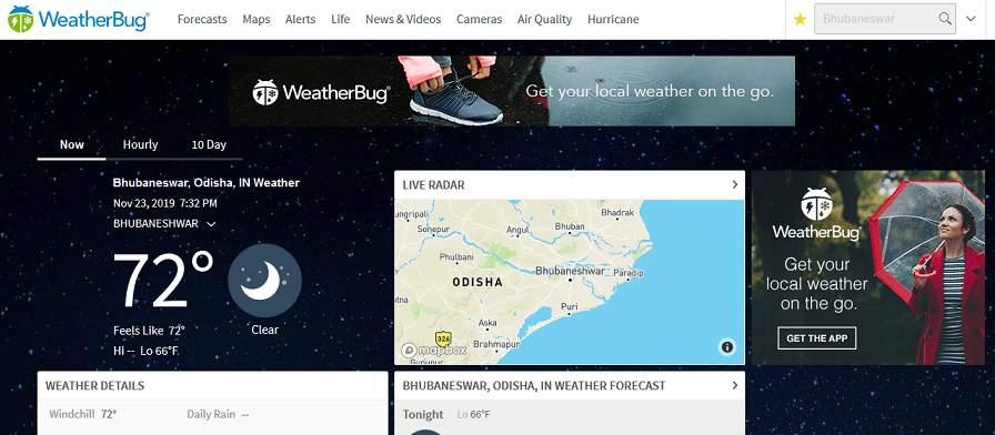 Weatherbug website