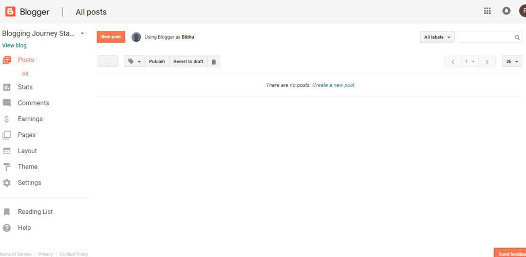 Google Blogger user interface