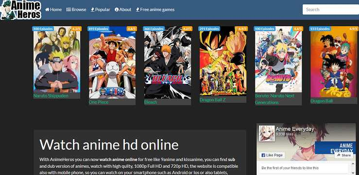 AnimeHeros website