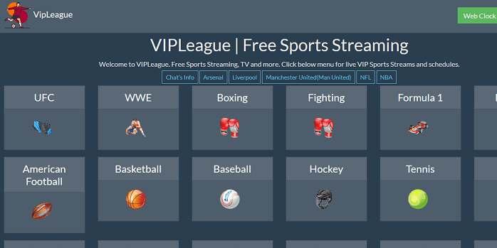 VIPLeague website