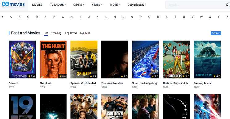 Go Movies website