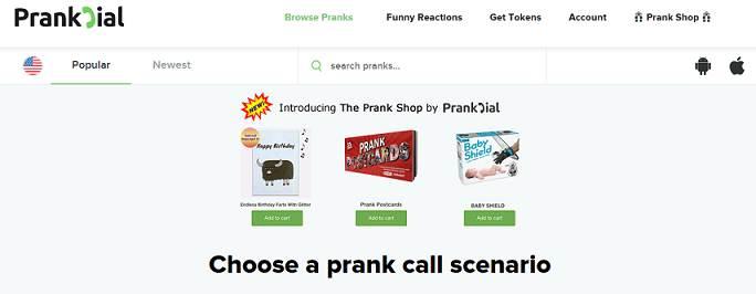 PrankDial website