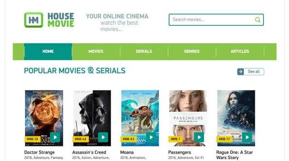 House Movies website