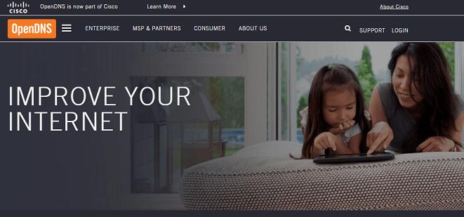 OpenDNS website
